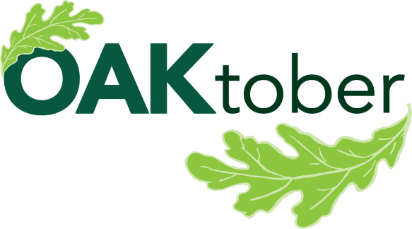 Celebrate OAKtober this year by planting an oak in your yard. Logo © Chicago Region Trees Initiative.
